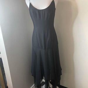 Black poly/chiffon slip dress , no label
